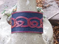 Hand carved leather cuff with celtic knot design. #celtic #cuff #carved leather
