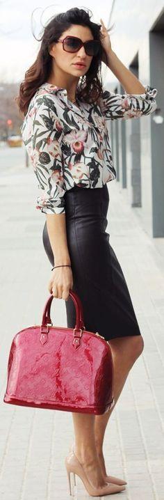 Zara Floral Silk Blouse, leather pencil skirt, Louis Vuitton bag.
