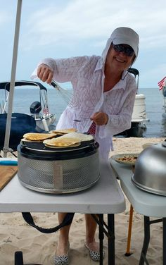 Quesadillas on the Cobb Griddle next to Lake Ontario. Easy and quick! Photo by Ann Pineda