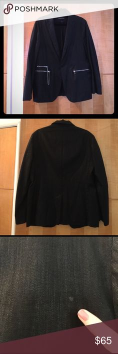 John varvatos men's jacket punk black sz 50 zipper Punk looking John varvatos black jacket with kind of a sheen to it. Cool zippers very awesome. Size 50. Small mark on back I swear was there when we bought. Awesome looking. John Varvatos Suits & Blazers Sport Coats & Blazers