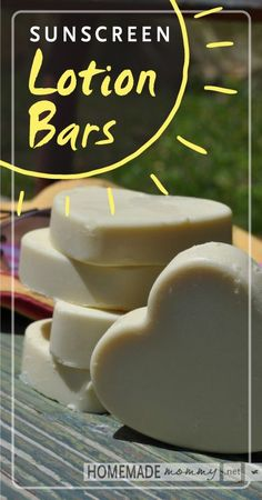 Homemade Sunscreen Lotion Bars |  1/2 cup shea butter  5 Tbsp beeswax  1/2 cup coconut oil  2 Tbsp Zinc Oxide  ½ tsp Vitamin E Oil  ¾ tsp essential oil: