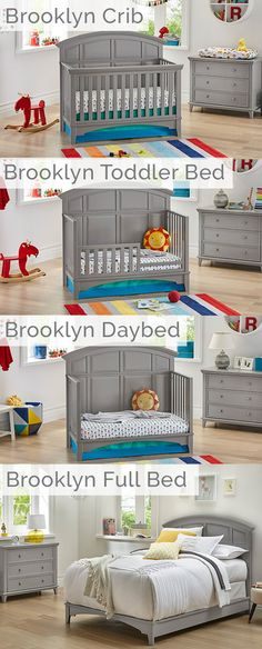 The Brooklyn Convertible crib grows with your baby through different stages. Starting with the crib, the sleek and modern design is perfect for a gender neutral nursery and with separate attachments can grow into a toddler bed, daybed, and full-size bed. Round Baby Cribs, Best Baby Cribs, White Nursery, Nursery Neutral, Good Night Baby, Elephant Themed Nursery, Baby Crib Mattress, Preparing The Nursery, Convertible Crib