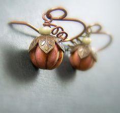 Petite Pumpkin Earrings with Copper and Vintaj Brass