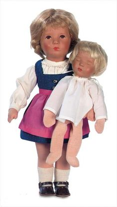 A Cherished Collection - Madame Andrée Petyt: 358 German Character Girl with Blonde Braids by Kathe Kruse,with Sleeping Baby Doll