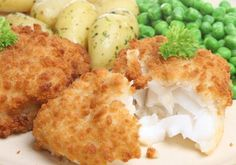 Sam Talbot's Battered Cod: Enjoy fish and chips the healthy way with this baked cod recipe. Fish Dishes, Seafood Dishes, Fish And Seafood, Seafood Recipes, Cod Recipes, Low Carb Recipes, Cooking Recipes, Healthy Recipes, Breaded Fish Recipe