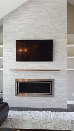 Solid hairline stainless mm)laminated floating shelves stainless steel shelf Home Deco contemporary fireplace design Floating hairline mmlaminated Shelf shelves Solid stainless steel Fireplace Feature Wall, Fireplace Tv Wall, Linear Fireplace, Fireplace Remodel, Living Room With Fireplace, Fireplace Surrounds, Small Fireplace, Two Story Fireplace, Floating Fireplace