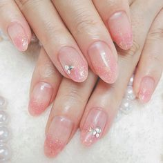 Clear feeling lame gradation ♡ # gradation # simple # office # clear # dating # all season # pink # lame # bridal # gel nail # customer # hand # medium # Anelanail # nail book