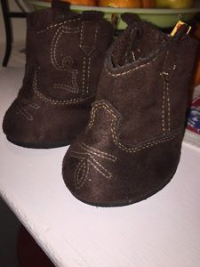 Build A Bear Boy Girl Soft Suede Brown Cowboy Boots Accessory