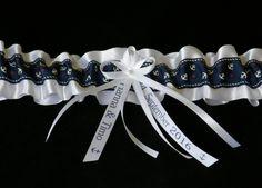 Strumpfbänder - Strumpfband Anker Marine blau Namen Datum - ein Designerstück von Candelita123 bei DaWanda