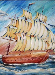 Картина, панно, рисунок, Мастер-класс Лепка, Роспись: Корабль (МК) Акварель, Гуашь, Тесто соленое 23 февраля. Фото 55