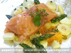 Papillote de salmón con espárragos y mandarinas. Receta con Thermomix