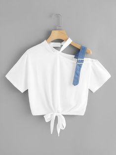 To find out about the Asymmetrical Neck Knot Hem Tee at SHEIN, part of our latest T-Shirts ready to shop online today! Girls Fashion Clothes, Teen Fashion Outfits, Stylish Outfits, Cool Outfits, Teen Clothing, Mens Fashion, Ladies Fashion, Modest Fashion, Korean Fashion