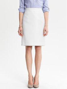 White textured cotton pencil skirt | Banana Republic