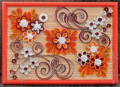 quilling,  квиллинг, цветы, Оранжевое настроение(мои работы) панно flowers