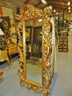 Large Gold Ornate Rococo Style Cheval Dressing Mirror
