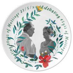 30th Wedding Anniversary PHOTO Commemorative Named Plate - anniversary cyo diy gift idea presents party celebration