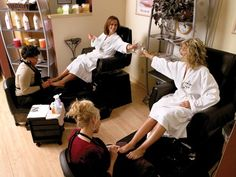 Ladies day at the spa.... wine and pedicures!  <3