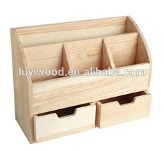 Creative DIY Wooden Pen Holder Desktop Stationery Cosmetics Storage Box with Big Drawer