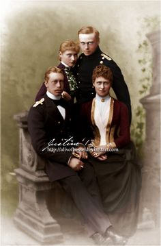 Prince Henry of Prussia, Princess Alix of Hesse, later Empress Alexandra Feodorovna of Russia, Ernest Louis, Hereditary Grand Duke of Hesse, Princess Irene of Hesse, later Princess of Prussia, 1887