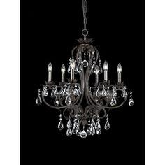 "Dark Bronze Six-Light Rustic Chandelier Trimmed w/ Hand Polished Crystal, 28"" wide - $530"