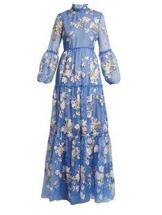 Erdem Cassandra Ruffled Embroidered Silk-organza Gown In Blue Floral Embroidery Dress, Blue Silk Dress, Blue Dresses, Sheer Gown, Silk Organza, Silk Gown, African Dress, Designer Dresses, Vintage Dresses