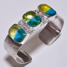 Faceted Multi Tourmaline Quartz .925 Silver  Handmade Bangle Cuff Jewelry R655 #Handmade