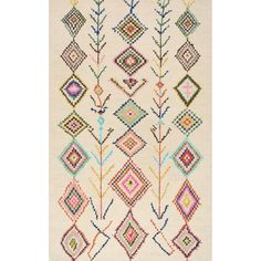 nuLOOM Contemporary Hand Tufted Wool Moroccan Triangle Beige Rug (7' 6 x 9' 6) - Overstock Shopping - Great Deals on Nuloom 7x9 - 10x14 Rugs