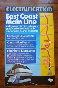 1986 East Coast Main Line Electrification Original Railway Travel Poster   eBay