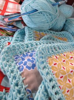 Fusion Blanket Crochet...this a mix between quilting and crocheting. Not really a pattern just the general idea....I think it is sooo neat and would love to try it sometimes!!!
