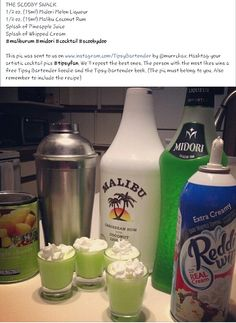 The Scooby Snack ( Midori melon liqueur, Malibu Coconut Rum, pineapple juice, whipped cream)