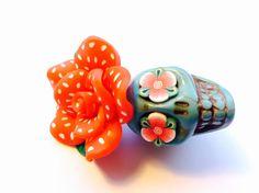 Gigantic Turquoise Sugar Skull and Red Polkadot Rose by PennysLane