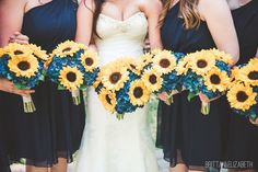 Navy Blue Wedding | Navy Blue Bridesmaid Dresses | Sunflower and Blue Hydrangea Bouquet