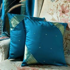 Pair Turquoise Sari Cushion Covers / Saree Pillow covers- Made to measure----- for the guest bedroom Turquoise Throw Pillows, Gold Pillows, Diy Pillows, Pillow Ideas, Cushion Ideas, Boho Cushions, Sewing Pillows, Diy Pillow Covers, Throw Pillow Cases