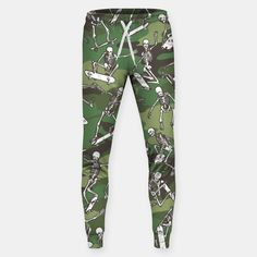 Grim Ripper Skater Camo WOODLAND GREEN Sweatpants, Live Heroes
