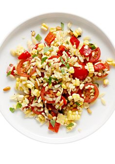 A simple orzo salad that calls for three simple ingredients: corn, cucumber and tomato.