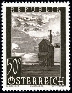 Austria post WWII airmail stamp 1947 Engraved by Schimek
