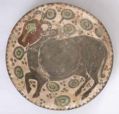 Bowl 10th century Iran, possibly Kermanshah Earthenware; painted on an opaque white (tin) glaze