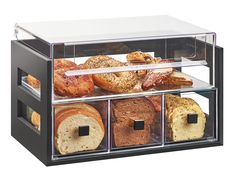 Item: 3624-60 (Bamboo) 3624-96 (Midnight Bamboo) 3624-99 (Reclaimed Wood)    Bread Displays The Bamboo Bread Display is the perfect way to neatly organize breads! It includes 3 drawers for loaves of bread,and a top section for bagels or other pastries. The side cutouts allow light to fill in the case so guests can see in perfectly!