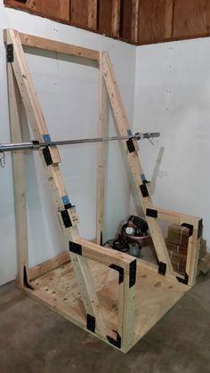DIY Custom squat rack /squat stand for an economical garage gym #DIY #garagegym #basementgym #squatrack #squatstand #doityourself