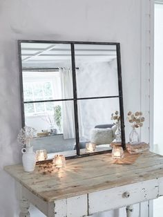Get the loft style look with our four panel window mirror, complete with antiqued edges and a rustic feel. This industrial window mirror looks great everywhere. Industrial Mirrors, Industrial Bedroom, Industrial House, Industrial Office, Industrial Style, Industrial Wallpaper, Industrial Bookshelf, Industrial Apartment, Industrial Farmhouse
