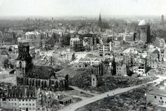 Taken in 1943, this image shows a view of the destroyed city from Hanover's...