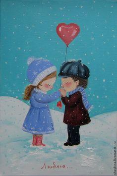 Купить Картина маслом . Люблю... - картина, картина маслом, подарок, Живопись, живопись маслом, Снег