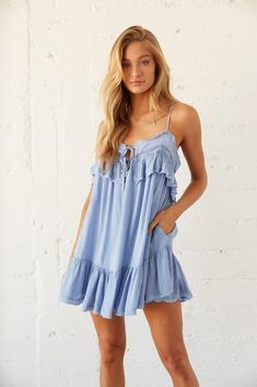 Say hello to the perfect boho summer vibe: The Fallon Ruffle Babydoll Romper! Featuring a keyhole cutout with double front ties, lace and ruffle detailing, and a flowy dress overlay for a relaxed babydoll fit. Available in misty blue and beige. Throw on the Luna Block Heel Mule for a femme finish. Sorority Rush, Sorority Recruitment, Tie Dress, Ruffle Dress, Nude Summer Dresses, Babydoll Dress, Size Model, Overlay, Lace Trim