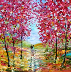 Painting original oil Spring Romance Landscape palette knife on canvas fine art impressionism by Karen Tarlton. $275,00, via Etsy.