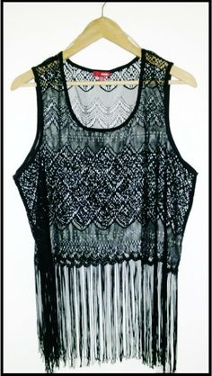 Flapper Shirt Plus Size | Black Lace & Fringe | Curvy | Juniors 2 XL14 / 16 | Lace for Layering or Sexy Boudoir | Roaring 1920s Inspired on Etsy, $30.00