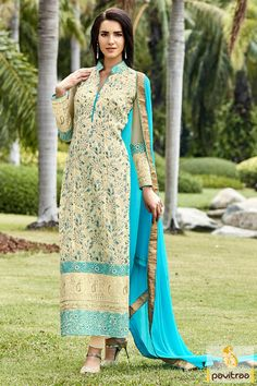 Turquoise and Beige Color Georgette Salwar Suit