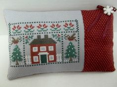 Home In Winter Cross Stitched Mini Pillow by luvinstitchin4u, $17.95