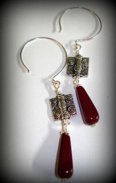 Silver and Burgundy Earrings