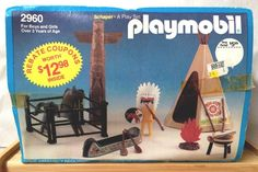 #vintage 80's Playmobil #2960 Indian Set Mib Unused New Tepee Canoe Native from $16.49
