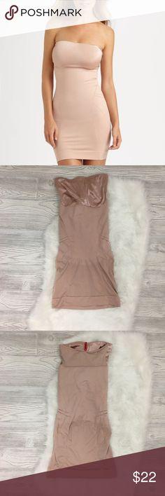 Spanx Slimmer & Shine Strapless Slip Size Medium.  Spanx slimmer & Shine Strapless Control Slip.  Has a stain on the inside. SPANX Intimates & Sleepwear Chemises & Slips